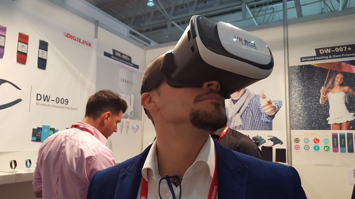 Testing out VR Box at Mobile World Congress Barcelona